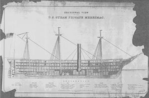 USS Merrimack (1855) - USS Merrimack sectional view