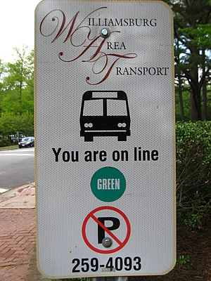 Williamsburg Area Transit Authority - Bus stop sign from the Williamsburg Area Transport era.