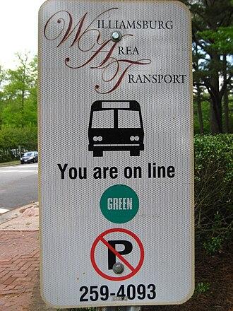 Williamsburg Area Transit Authority - Bus stop sign from the Williamsburg Area Transport era.