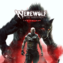 "The game's logo shows ""Werewolf: The Apocalypse"" in small font, with the initial ""W"" in ""Werewolf"" stylized as claw marks, and ""Earthblood"" in a large font."