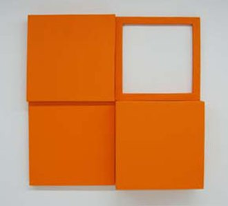 Corey Postiglione - Corey Postiglione, 4 units orange, acrylic/canvas, 3 x 3 ft., 1973 ©
