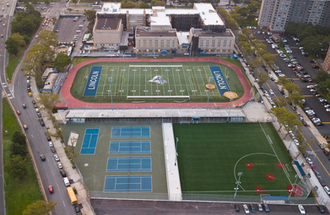 Abraham Lincoln High School (Brooklyn) - Lincoln's athletic field in aerial view.