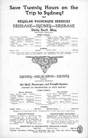 Australian National Airways (1930) - Australian National Airways timetable from 1930