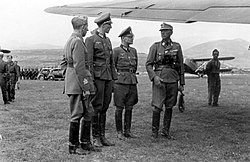 an Italian officer and three German officers in uniform standing beneath the wing of an aircraft on a grassed airfield