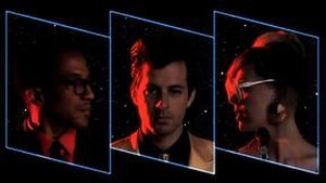 """Bang Bang Bang (Mark Ronson song) - The music video for """"Bang Bang Bang"""", featuring (from left to right) Q-Tip, Mark Ronson, and Amanda Warner."""