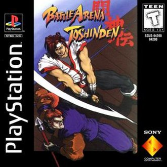 Battle Arena Toshinden - North American cover showing Eiji and Mondo engaging in battle