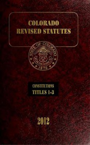 Colorado General Assembly - Cover of volume 1 of the 2012 Colorado Revised Statutes