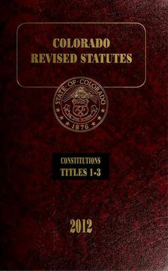 Law of Colorado - Cover of volume 1 of the 2012 Colorado Revised Statutes