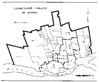 Communauté urbaine de Québec - Boundaries of constituent municipalities of the Communauté urbaine de Québec at creation, with related sectors for membership on its executive committee