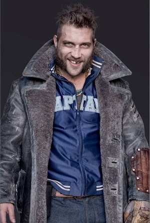 Captain Boomerang - Jai Courtney as Captain Boomerang in a promotional poster for Suicide Squad (2016)