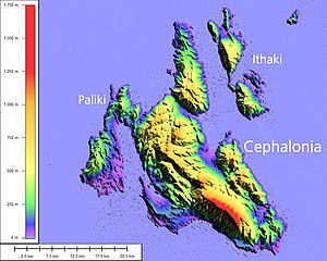 Paliki - Cephalonia and Ithaca, elevation map