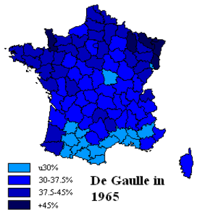 French presidential election, 1965 - % of vote for Charles de Gaulle, first round