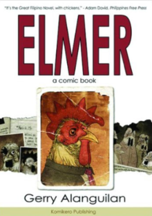 The Title Elmer In Red On A White Background Above Color Photo Of