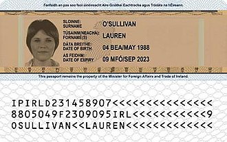 Irish passport - Reverse
