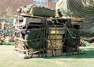 7 Medical Battalion Group - A Jakkals Jeep is shown packed ready for airdrop similarly to the packed Surgical post