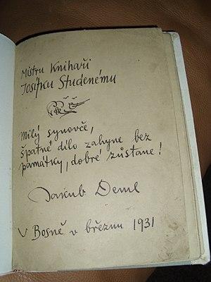 Jakub Deml - Image: Jakub Deml Inscription
