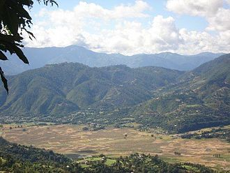 Pyuthan District - Jhimruk valley with Madi Khola valley beyond and Mahabharat Lekh on horizon.