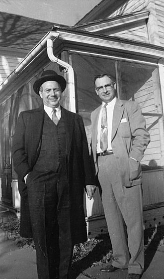 John R. Dunning - John R. Dunning (left) and Hubert Thelen (right) – first cousins, March 1957 after funeral of John's father A.C. Dunning.