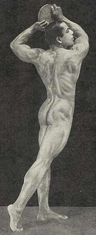K. V. Iyer - K. V. Iyer posing with a discus