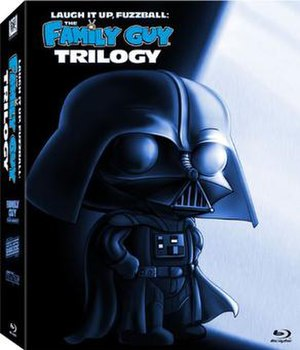 Laugh It Up, Fuzzball: The Family Guy Trilogy - Blu-ray cover, featuring Stewie as Darth Vader