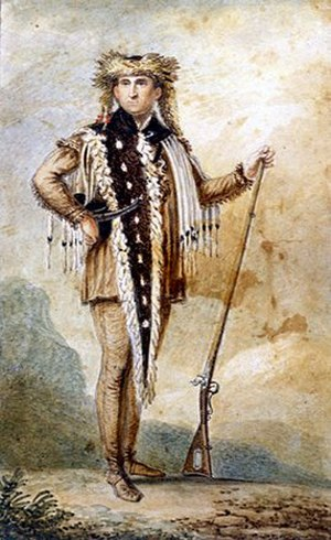 Tippet - Meriwether Lewis wearing a tippet presented to him by Sacagawea's brother, Cameahwait.
