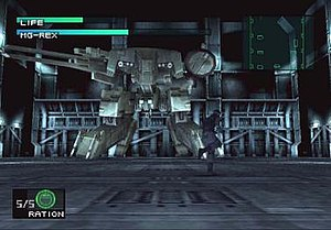 Metal Gear (weapon) - Solid Snake battling Metal Gear REX in Metal Gear Solid.