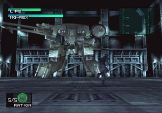 Metal Gear (mecha) - Solid Snake battling Metal Gear REX in Metal Gear Solid.