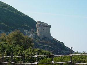 "Mount Circeo - ""Torre Paola"" at Sabaudia, a 16th-century watchtower built by will of Pope Pius IV at the west end of the promontory, guarding the canal."