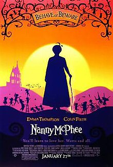 silhouette of Nanny McPhee against brightly coloured background