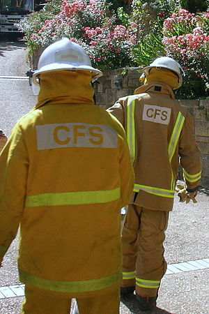 "South Australian Country Fire Service - Two types of personal protective equipment are currently in use: yellow Nomex (left) for rural firefighting, and ""PBI Gold"" for structure fires."