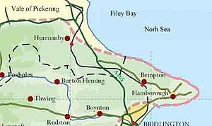 Yorkshire Wolds - Map of the northern area of the Yorkshire Wolds