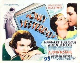 <i>Only Yesterday</i> (1933 film) 1933 film by John M. Stahl