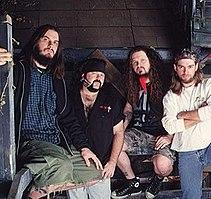 "Pantera circa 2000. Left to right: Phil Anselmo, Vinnie Paul Abbott, ""Dimebag Darrell"" Abbott, Rex Brown"
