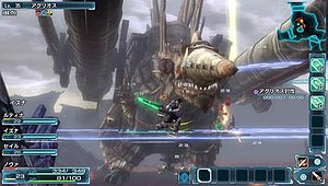 Phantasy Star Nova - In-game combat screenshot, demonstrating the gameplay layout.