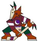 Phoenix's first logo, a kachina-style coyote, used from 1996 to 2003.