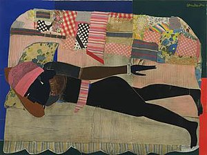 Romare Bearden - Romare Bearden, Patchwork Quilt, cut-and-pasted cloth and paper with synthetic polymer paint on composition board, 1970, Museum of Modern Art