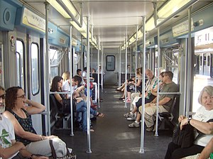 Rome–Lido railway - Interior of MA100 rolling stock on the Rome-Lido railway