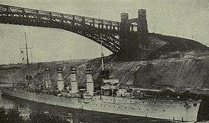 SMS Breslau - Breslau in the Kaiser Wilhelm Canal, passing underneath the Levensau High Bridge