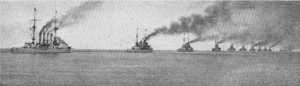 SMS Roon - Roon (left) steaming astern of the High Seas Fleet