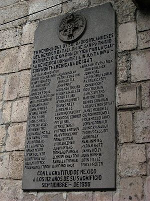"Saint Patrick's Battalion - Commemorative plaque placed at the San Jacinto Plaza in the district of San Ángel, Mexico City in 1959: ""In memory of the Irish soldiers of the heroic St. Patrick's Battalion, martyrs who gave their lives to the Mexican cause in the United States' unjust invasion of 1847"""