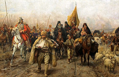 Migration of the Serbs a painting by Paja Jovanovic, depicting the Great Serb Migrations led by Patriarch Arsenije III Carnojevic, 17th century. Serbmigra.jpg