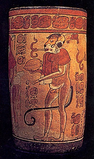 Tobacco and art - Vase of the Smoking Monkey. A ceramic artifact from the Maya lowlands created in the late Classic period. A spider monkey possibly representing a deity smokes a cigarette.