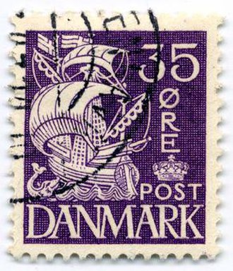 Postage stamps and postal history of Denmark - A 35-øre caravel, 1940 (Type II).