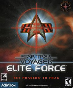 "Superimposed over a space background, a set of crosshairs rest over a delta-shaped insignia. Below the insignia, in a futuristic black typeface, are the words ""Star Trek: Voyager"". Lower down, the words ""ELITE FORCE"" are written in a similar but larger, white typeface."