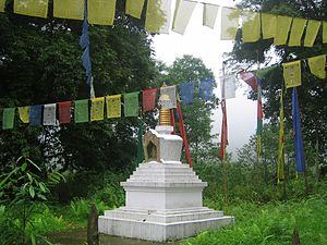 Khecheopalri Lake - The stupa near the lake