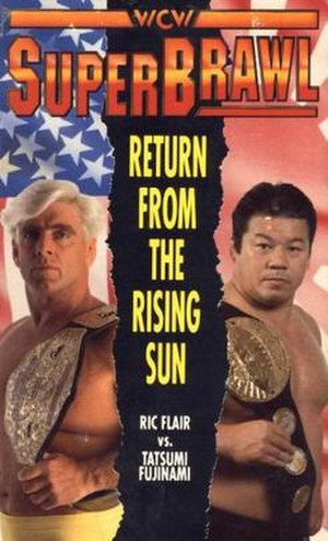 SuperBrawl I - The official poster for the show, showcasing Ric Flair and Tatsumi Fujinami