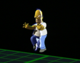 """Treehouse of Horror VI - In what Bill Oakley considers the """"money shot"""", Homer steps into the 3D world"""