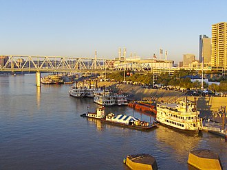 Tall Stacks - Numerous river boats along the Ohio River during the 2006 festival.