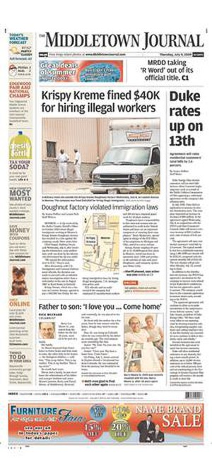 The Middletown Journal - Image: The Middletown Journal front page