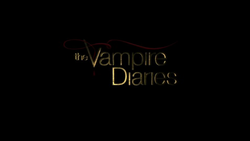 The show name written in gold against a black background and a ribbon of red above the word vampire